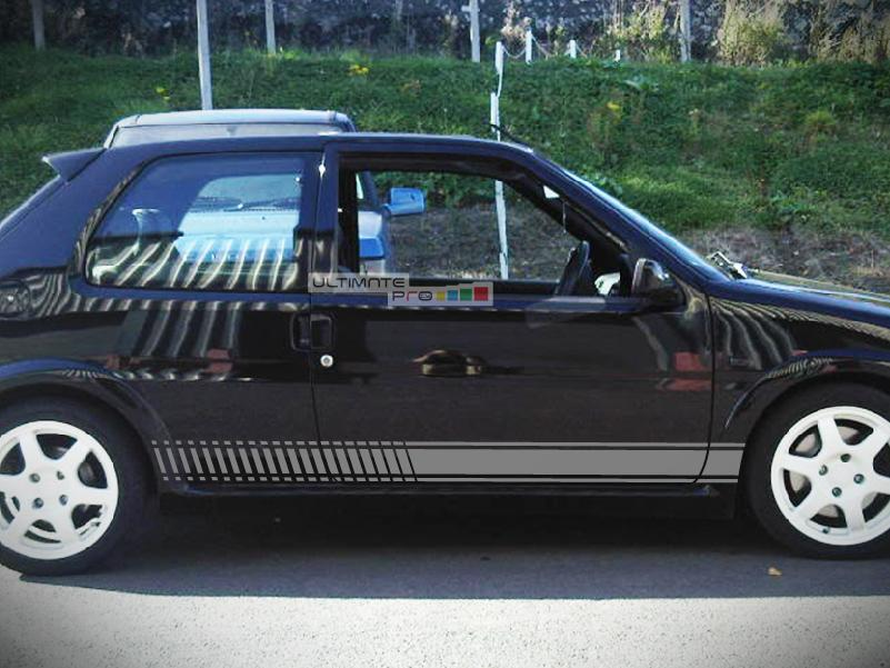 2x decal sticker vinyl side racing stripes compatible with peugeot 106 rallye phase 1 2 16v. Black Bedroom Furniture Sets. Home Design Ideas