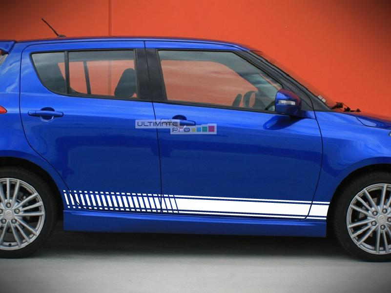 2x Decal Sticker Vinyl Side Racing Stripes Compatible With