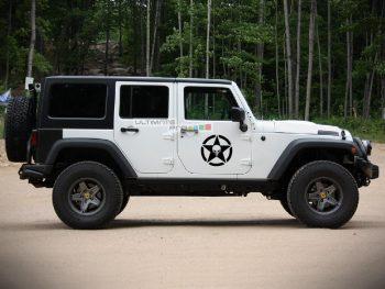 2x Stars Decal Side Punisher Skull Star Sticker Jeep Wrangler RUBICON Jk