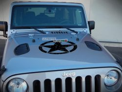 Decal Sticker Vinyl Hood Distressed Star Jeep Wrangler JK Unlimited Rubicon Sahara Sport S