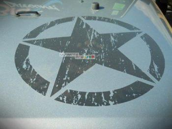 Decal Sticker Vinyl Hood Distressed Star Jeep Wrangler JK Unlimited Rubicon Sahara Sport S