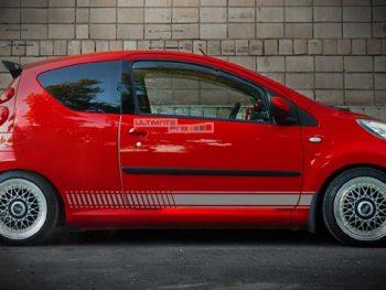 Set of Racing Side Stripes Decal Sticker Graphic Peugeot 107 3 and 5 Door Hatchback