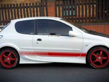 Set of Racing Side Stripes Decal Sticker Graphic Peugeot 206 2DR Cabriolet 35DR Hatch