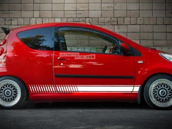 Set of Sport Side Stripes Decal Sticker Vinyl Peugeot 107 1.0i 12V