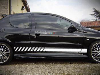 Set of Sport Side Stripes Decal Sticker Vinyl Peugeot 206 GTi RC CC