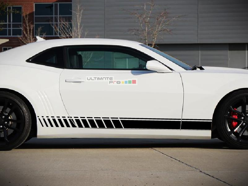 Side Sport Stripe Kit Sticker Decal Graphic Compatible With Chevrolet Camaro Ss Black