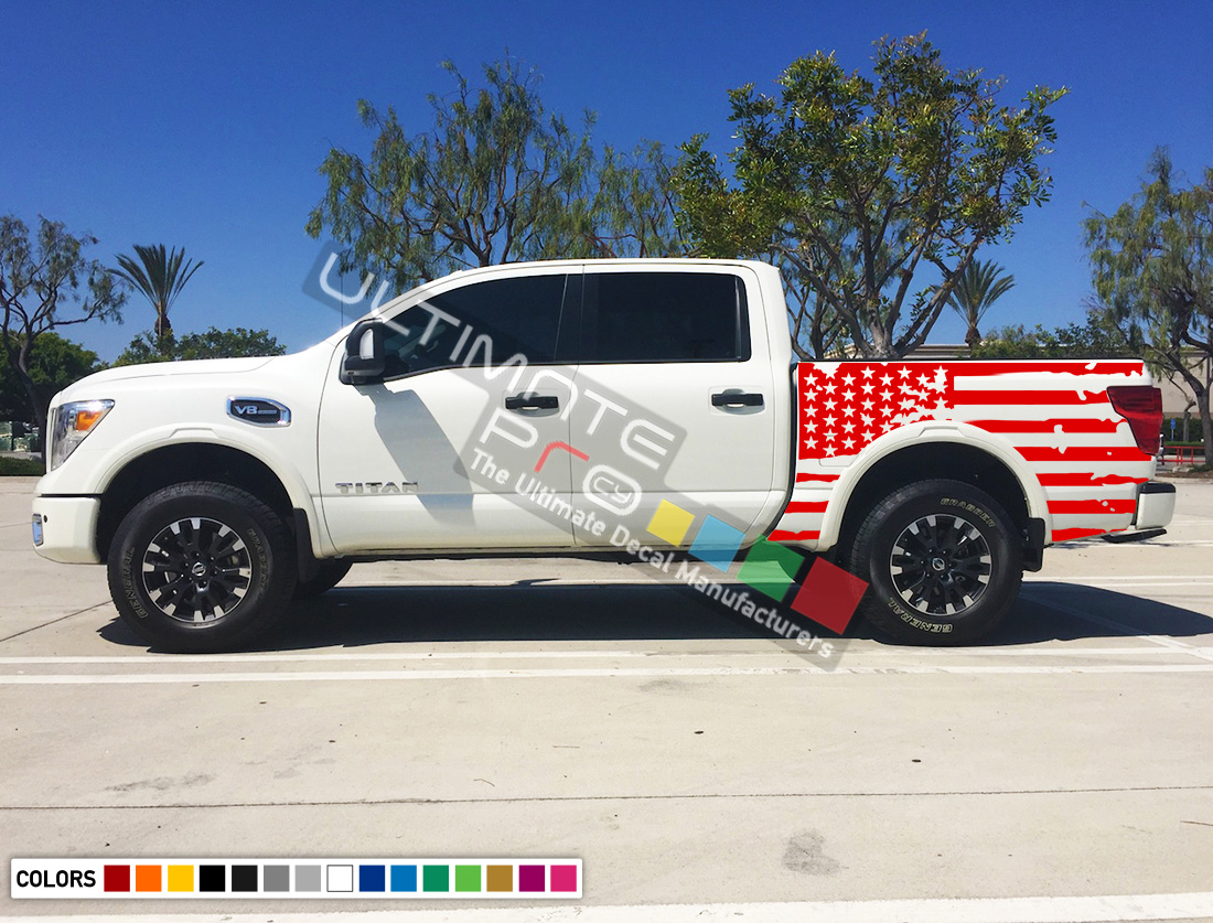 Set Of Side Bed American Flag Decal Sticker Graphic