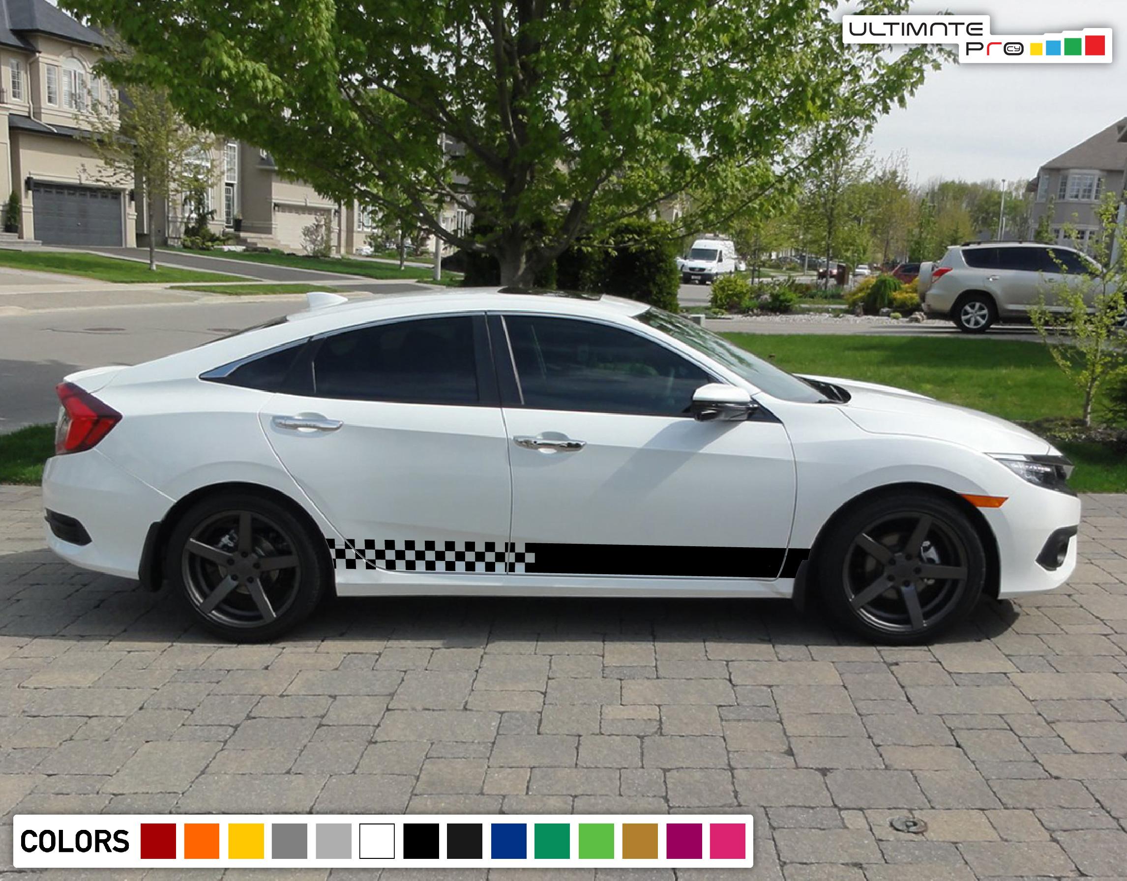 Sticker Decal Vinyl Side Door Stripes for Acura LTX Turbo 2016 2017 2018 2019 present sport fender body