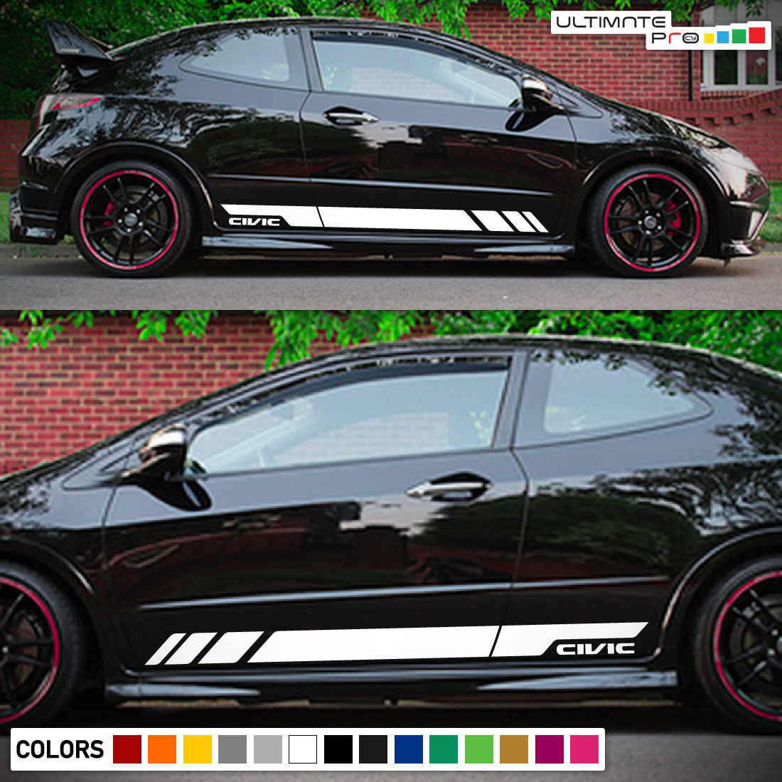 Sticker Decal Vinyl Side Door Stripes for Honda Civic FN2 2006 - 2011 Sport Wing Type R ...
