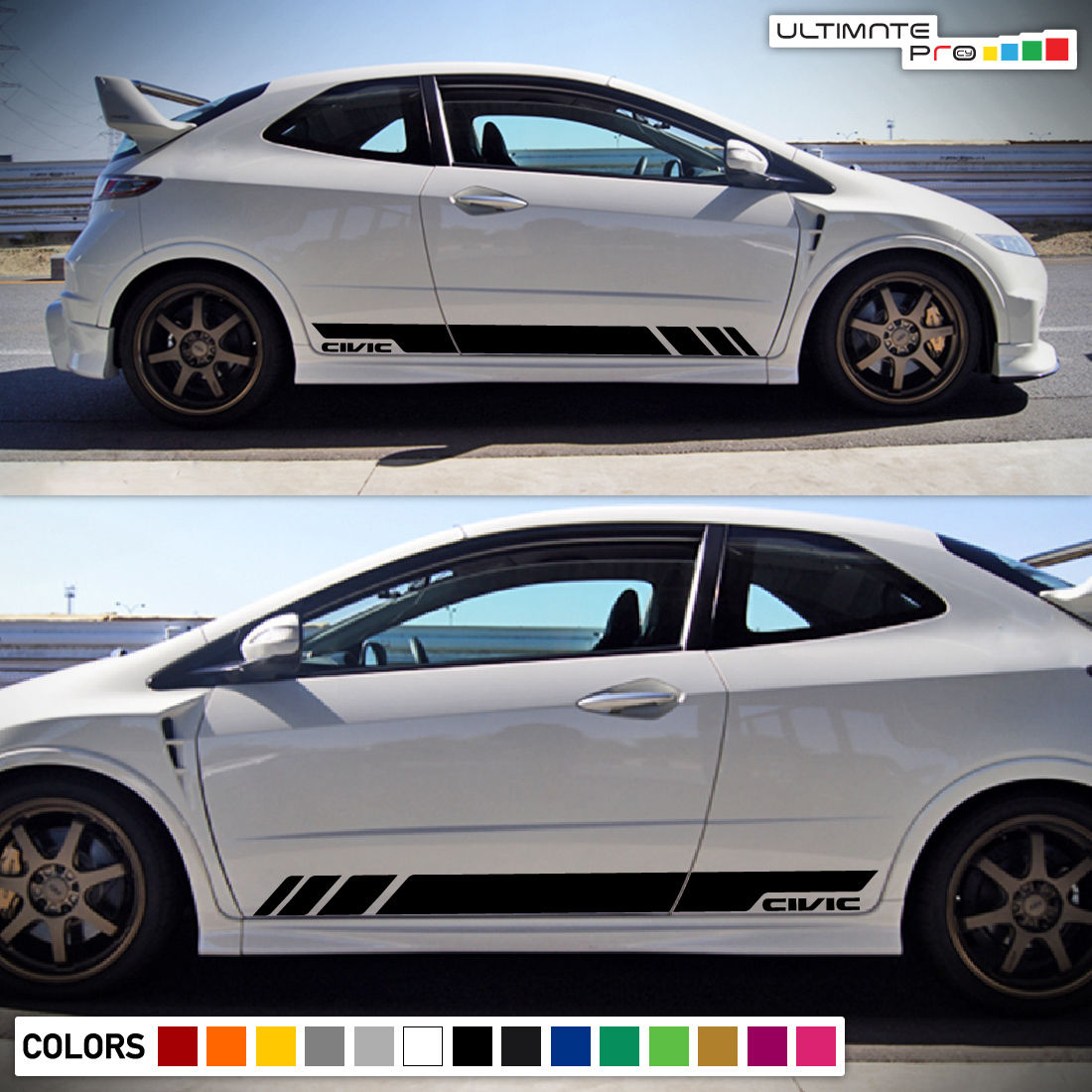 Sticker Decal Vinyl Side Door Stripes For Honda Civic Fn2 2006 2011 Sport Wing Type R