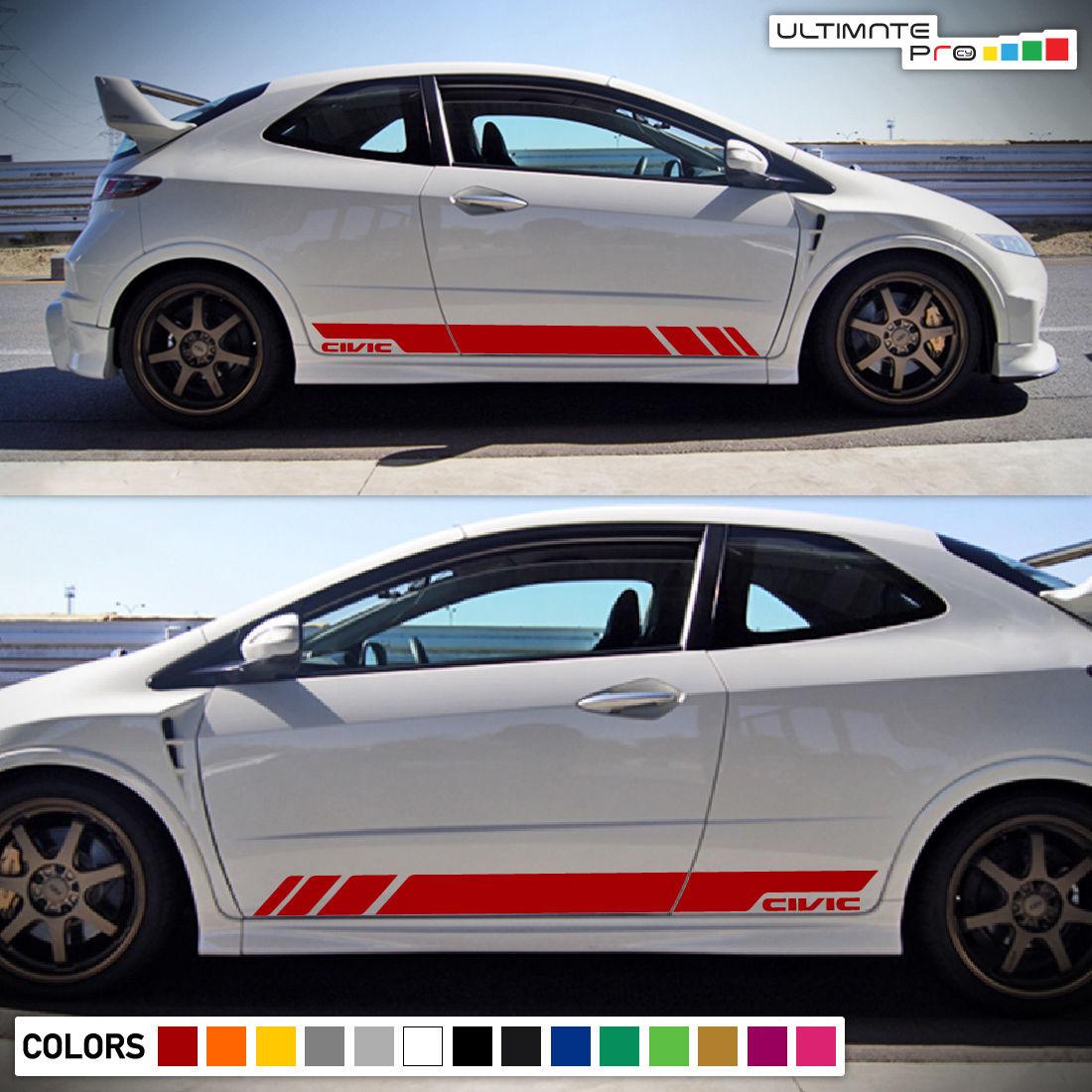 Sticker Decal Vinyl Side Door Stripes For Honda Civic Fn2 2006 2011 Sport Wing Type R