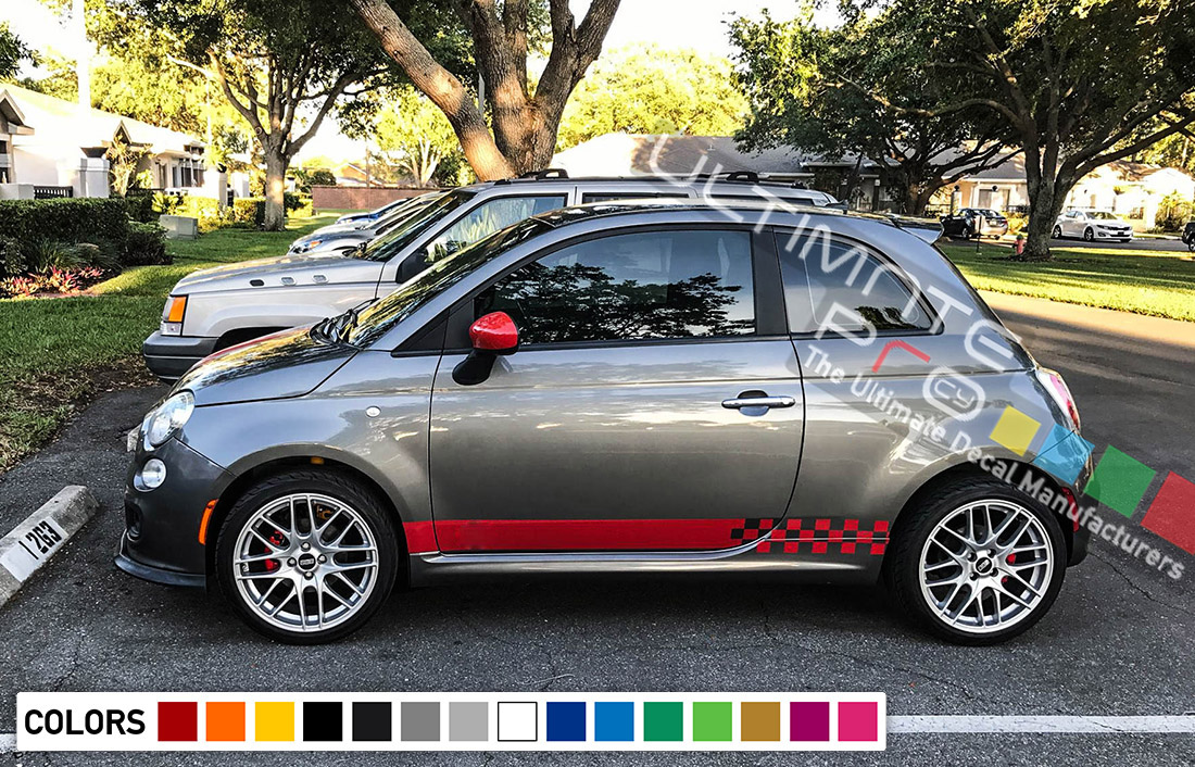 Side Stripes Decal 2x Sticker Compatible With Fiat 500 Abarth Performance