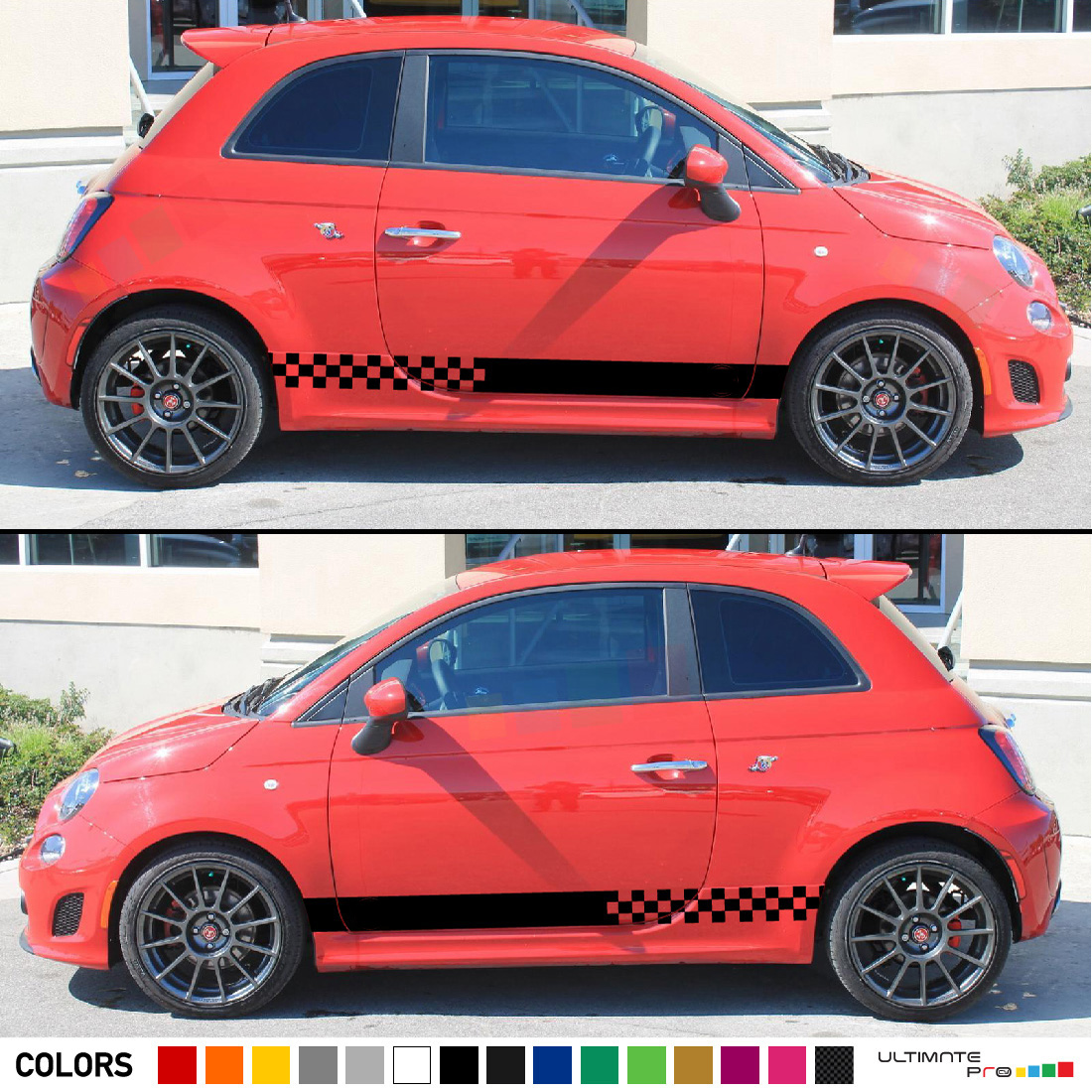 Side Stripes Decal 2x Sticker Compatible With Fiat 500