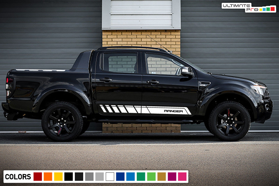Matte Black Ford Ranger Wildtrak 2017 >> 2x Decal Sticker Graphic Side Stripe Kit Compatible with Ford Ranger T6 2011-2017 - ultimateprocy