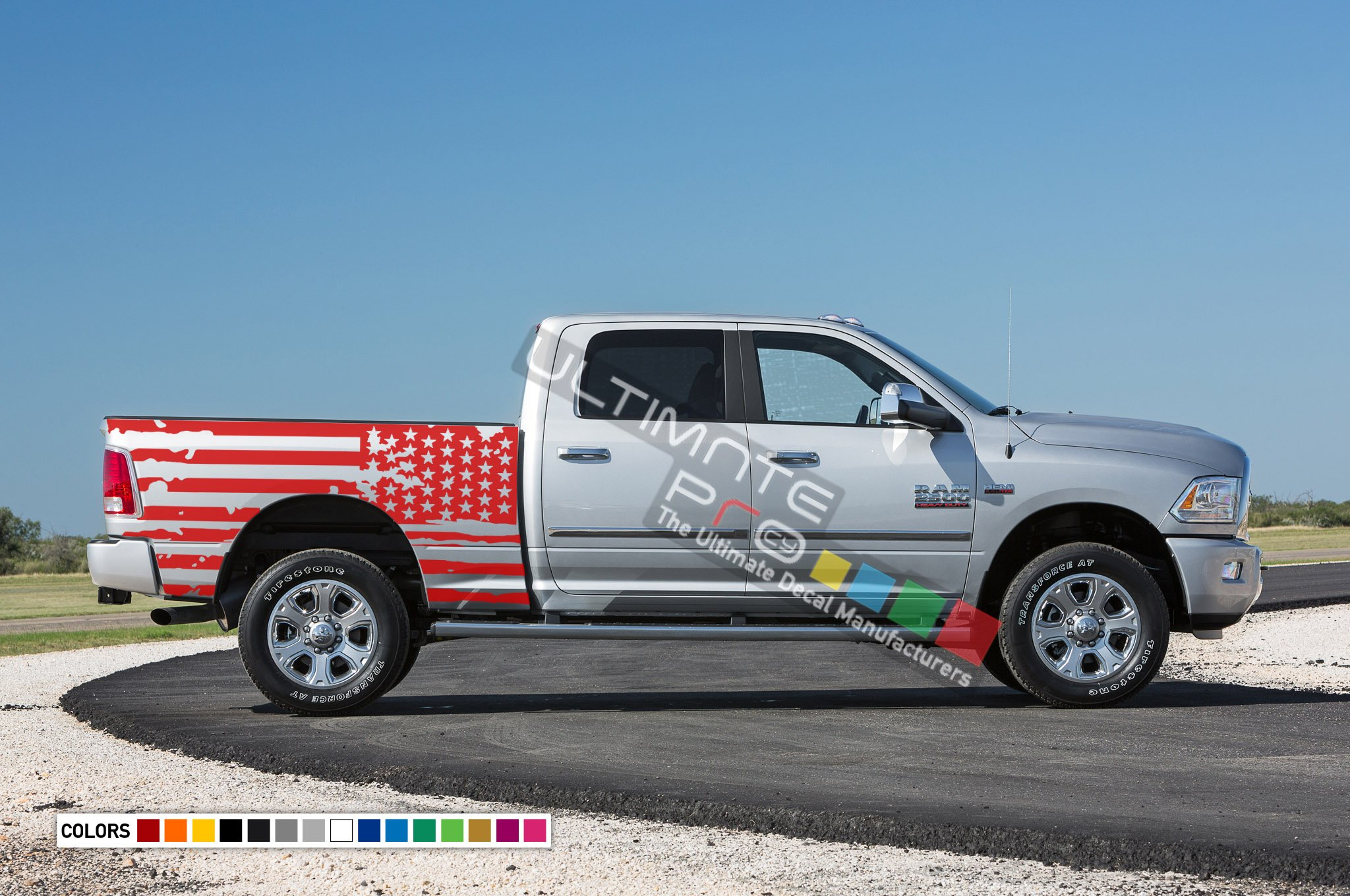Dodge Ram Decal American Flag Tail Sticker Bed Kit 2010 Present